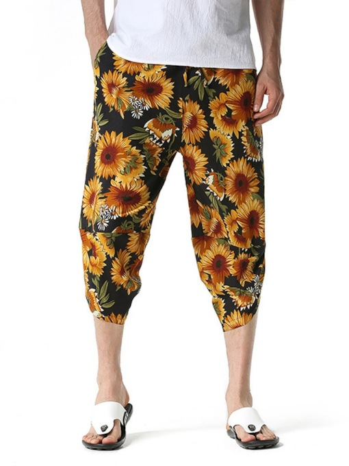 Thin Pencil Pants Print Floral Summer Men's Casual Pants