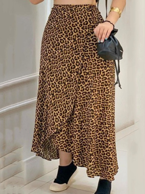 Leopard Ankle-Length A-Line Casual Women's Skirt