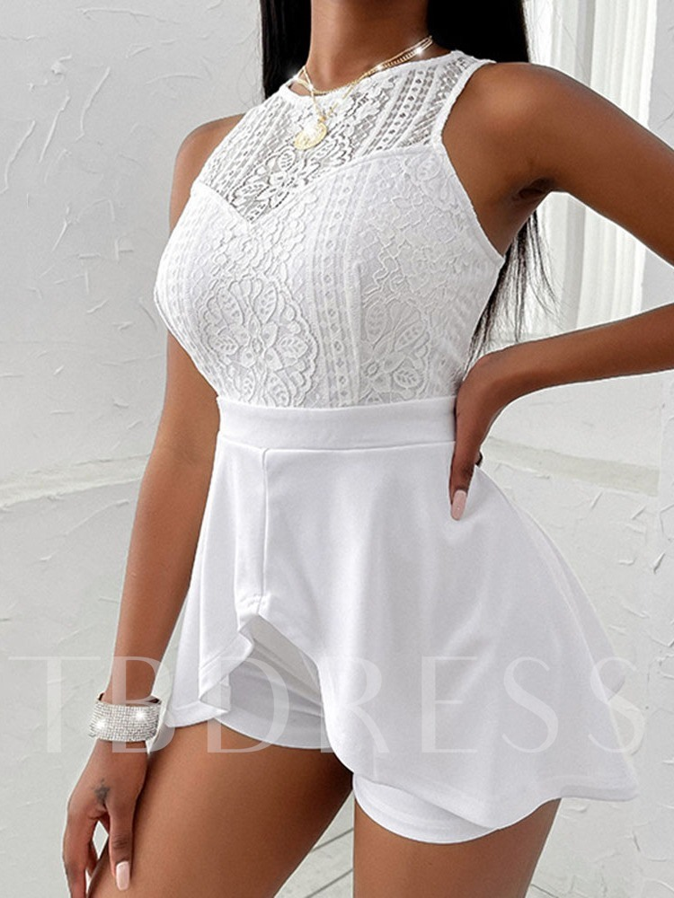 Fashion Hollow Plain Shorts Straight Women's Rompers