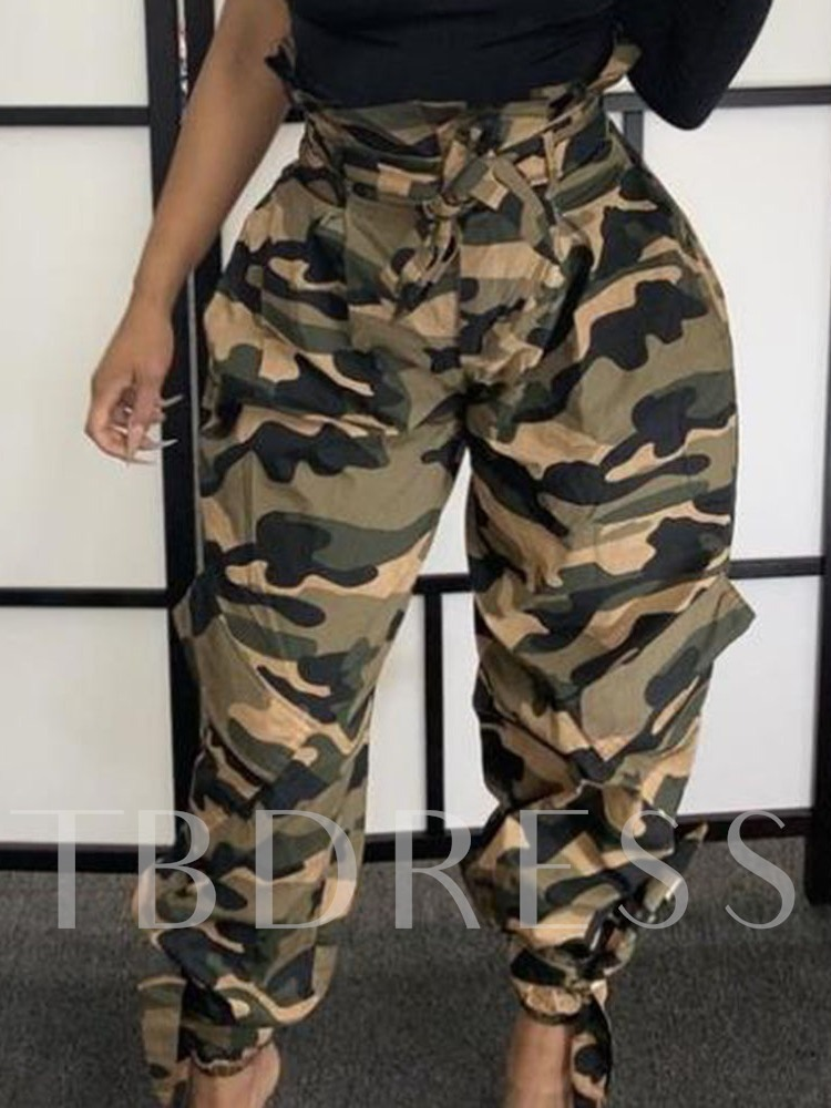 Slim Camouflage Full Length Women's Casual Pants