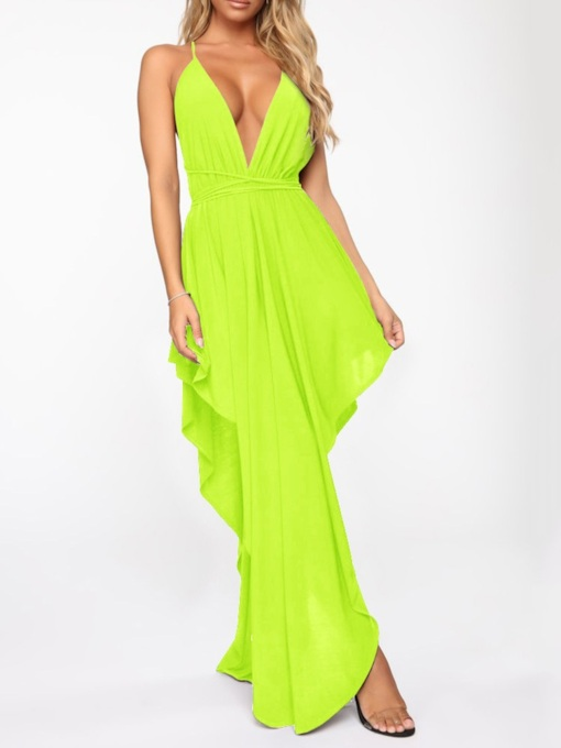 Backless Floor-Length V-Neck Sleeveless Plain Women's Dress