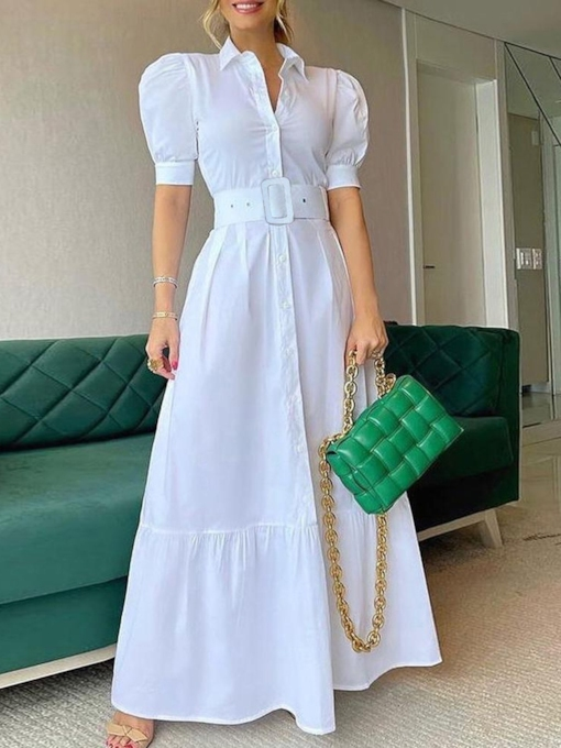 Floor-Length Button Lapel Short Sleeve Summer Women's Dress