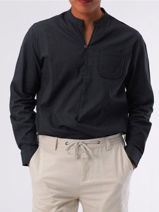 Plain Stand Collar Pocket Korean Loose Men's Shirt
