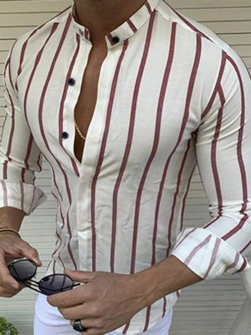 Stand Collar Print European Stripe Fall Men's Shirt