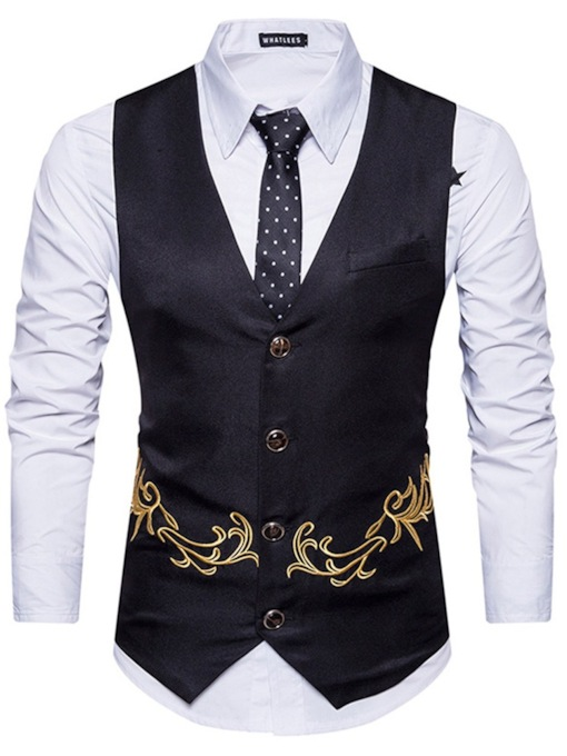 V-Neck Embroidery Plant Single-Breasted Men's Waistcoat