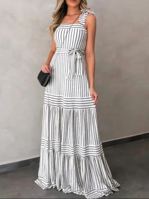 Sleeveless Lace-Up Square Neck Floor-Length Sweet Women's Dress