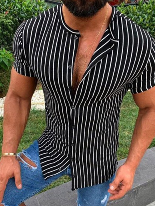 Stripe Print European Slim Summer Men's Shirt
