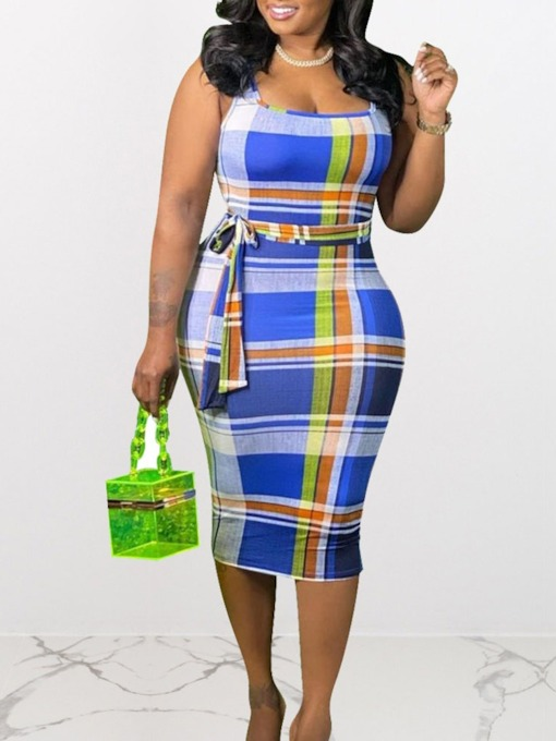 Plus Size Print Sleeveless Mid-Calf Fashion Women's Dress