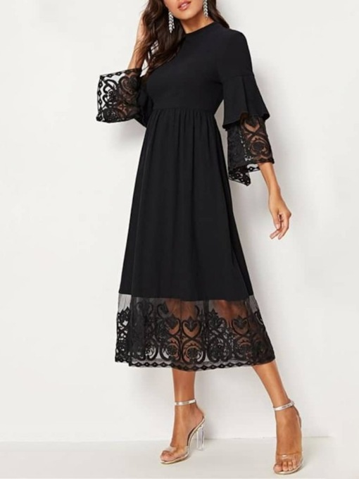 Plus Size Three-Quarter Sleeve Mid-Calf Lace A-Line Women's Dress