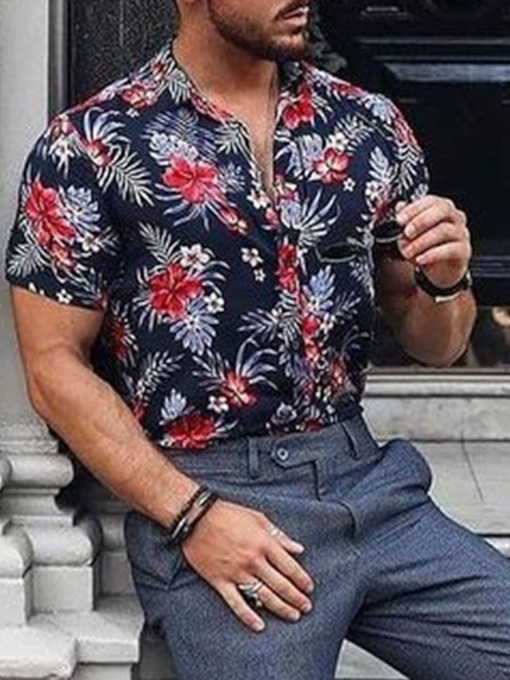 Print Floral Slim Short Sleeves Summer Men's Shirt