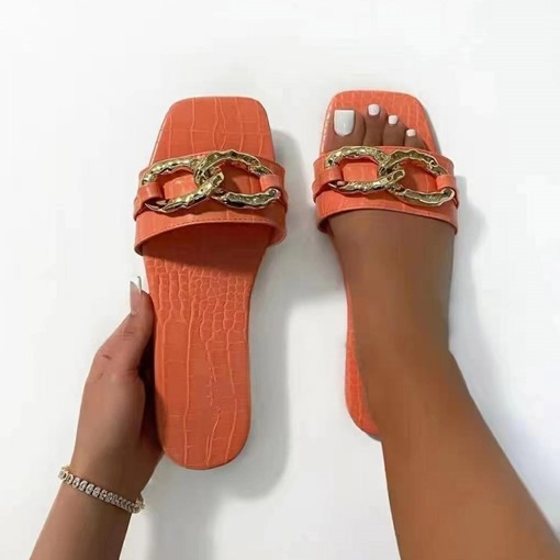 Slip-On Flip Flop Chain Flat With Plain Slippers
