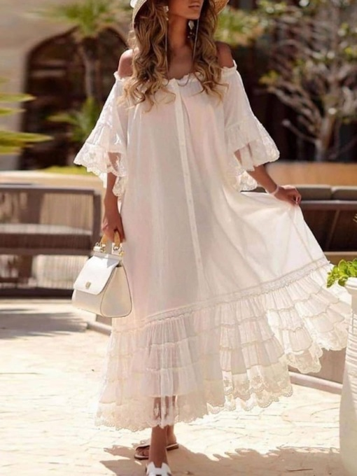 Plus Size Patchwork Three-Quarter Sleeve Ankle-Length Western Women's Dress