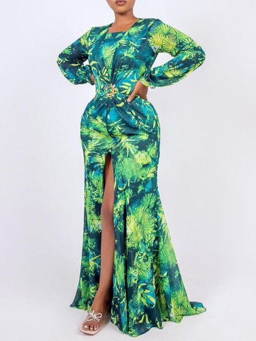 Long Sleeve Round Neck Floor-Length Print High Waist Women's Dress