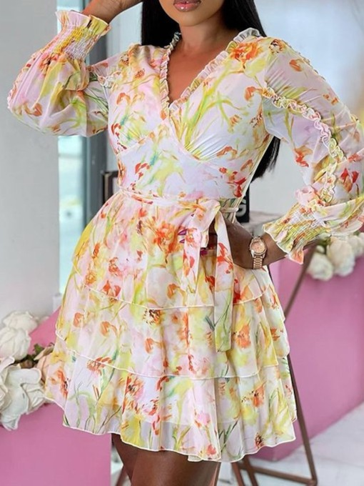 V-Neck Long Sleeve Print Above Knee Floral Women's Dress