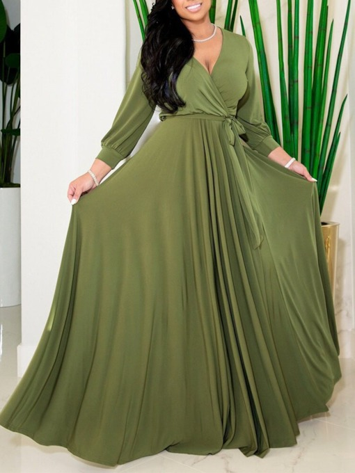 Plus Size Nine Points Sleeve Floor-Length V-Neck Fall Women's Dress