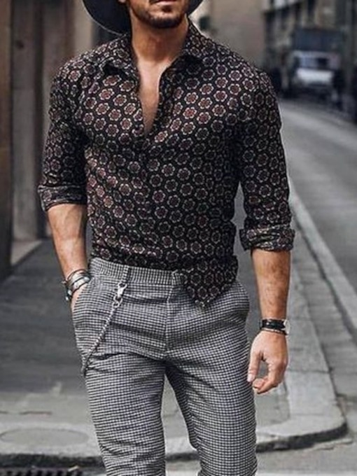 Print Lapel Slim Long Sleeves Men's Shirt