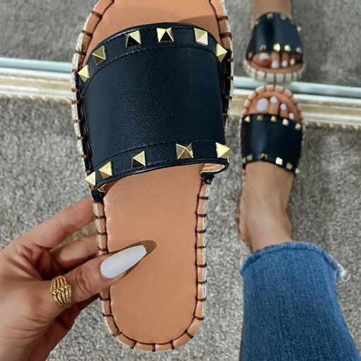 Thread Flat With Flip Flop Slip-On Rubber Slippers