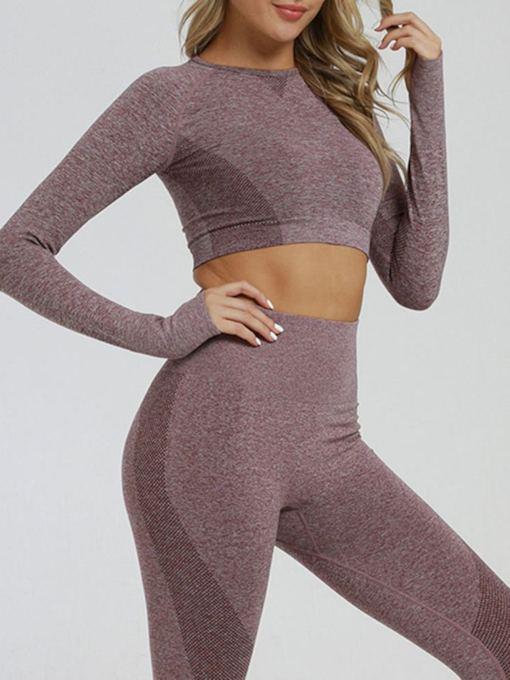 Anti-Sweat Solid Yoga Ankle Length Pullover Clothing Sets