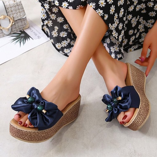 Beads Platform Slip-On Flip Flop Patchwork Slippers