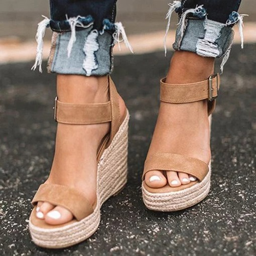 Wedge Heel Buckle Round Toe Patchwork Sandals