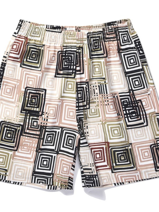 Print Geometric Fashion Straight Men's Beach Shorts