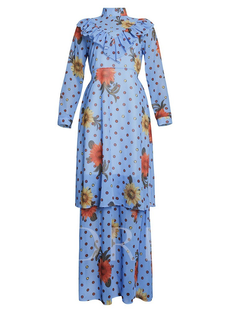 Print Dress Floral Casual Layered Dress Women's Two Piece Sets