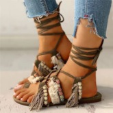 Lace-Up Round Toe Flat With Cross Strap Sandals