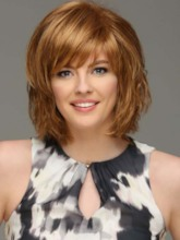 Women's Short Layered Hairstyles Natural Straight Human Hair Capless 120% 12 Inches Wigs