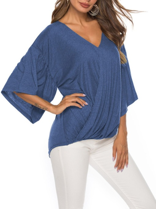 Plain V-Neck Mid-Length Three-Quarter Sleeve Summer Women's T-Shirt