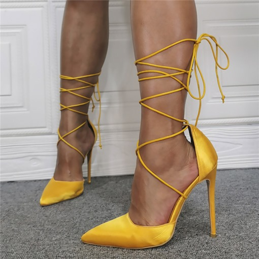 Thread Stiletto Heel Pointed Toe Lace-Up Plain Thin Shoes