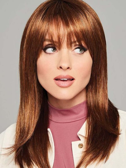 Medium Hairstyles Women's Natural Looking Straight Human Hair Capless 20 Inches 120% Wigs