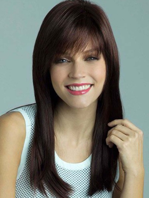 Natural Looking Women's Long Length Straight Human Hair Capless 120% 24 Inches Wigs