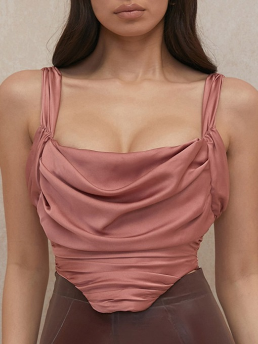 Backless Polyester Summer Short Women's Tank Top
