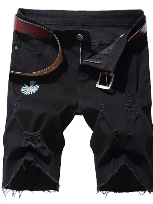 Straight Floral Hole Cargo Shorts Mid Waist Men's Jeans