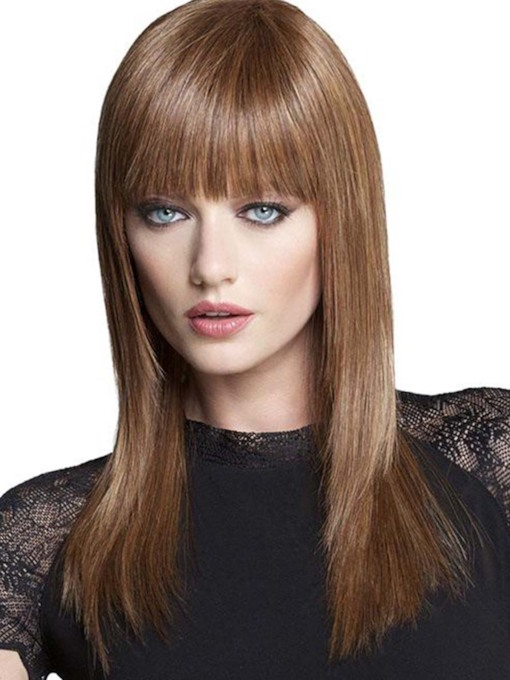 Women's Long Bob Hairstyles Slik Straight Human Hair Wigs With Bangs Capless 120% 20 Inches Wigs
