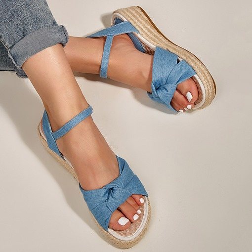 Round Toe Buckle Flat With Western Sandals