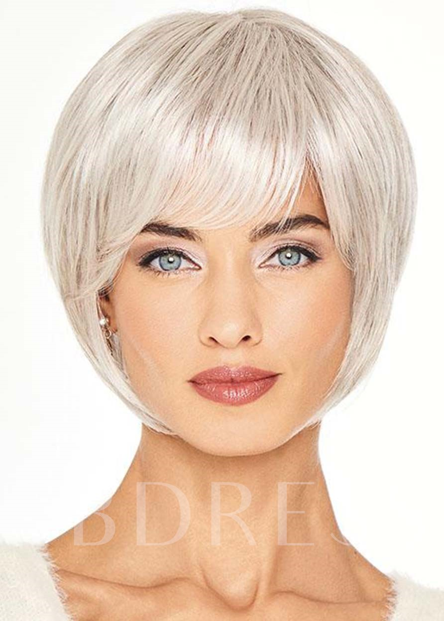 Women's Short Cut Bob Hairstyles Blonde Color Straight Human Hair Capless 8 Inches 120% Wigs