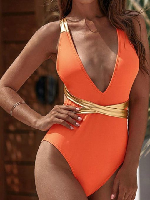 Color Block Beach Look One Piece Lace-Up Women's Swimwear