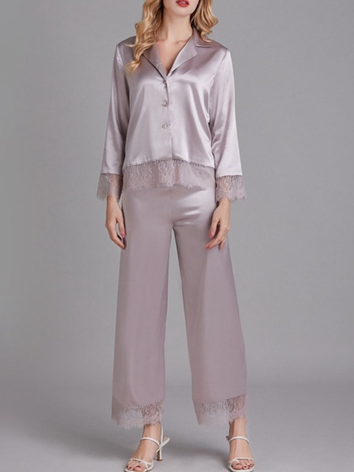 Casual Plain Patchwork Nine Points Sleeve Women's Pajama Suit