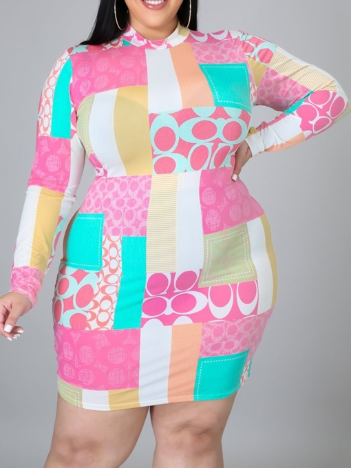 Plus Size Stand Collar Long Sleeve Patchwork Above Knee Pullover Women's Dress