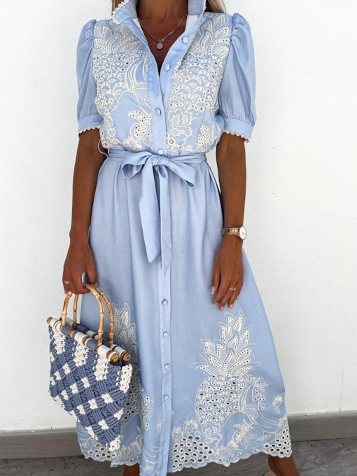Short Sleeve Ankle-Length Embroidery Fall Women's Dress