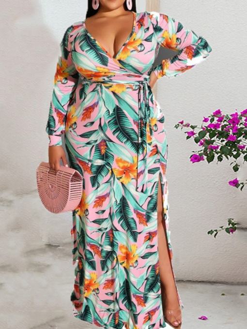 Plus Size Long Sleeve Floor-Length V-Neck Print Fashion Women's Dress