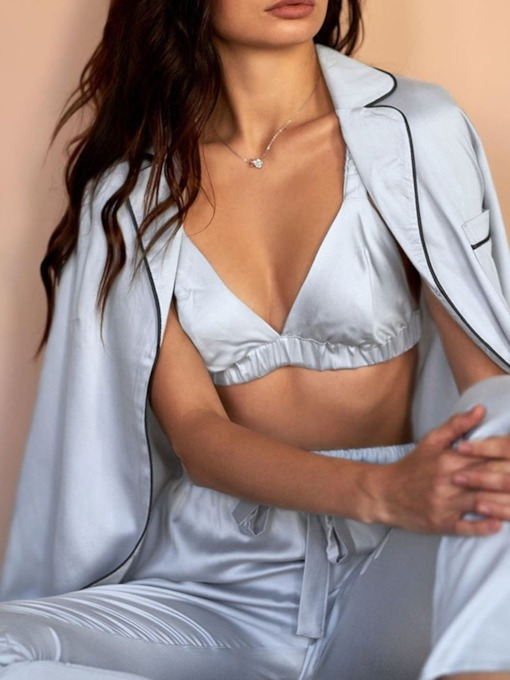 Pocket Plain Casual Single-Breasted Women's Pajama Suit
