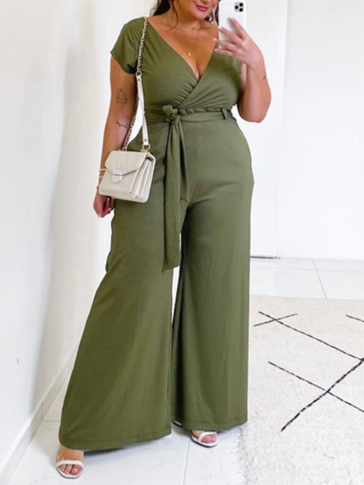Plus Size Full Length Office Lady Plain Slim Women's Jumpsuit