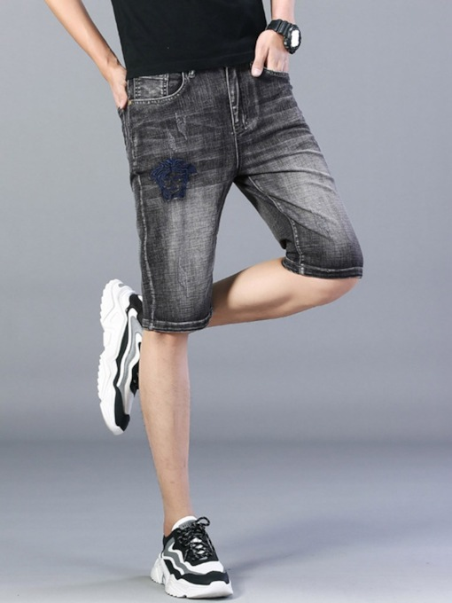 Thin Straight Shorts Embroidery Korean Men's Jeans