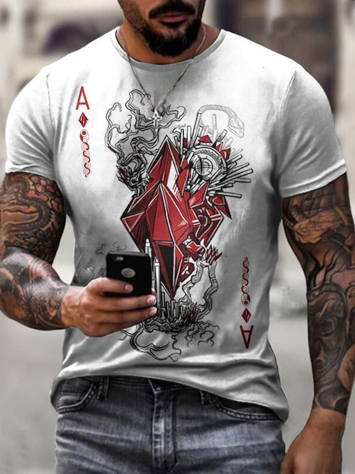 Letter Print Round Neck Casual Pullover Men's T-shirt