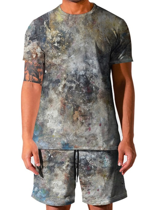 European Print Color Block T-Shirt Sommer Herren Outfit