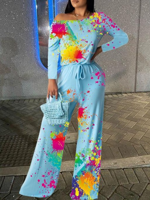 Plus Size Print Full Length Casual Floral Slim Women's Jumpsuit
