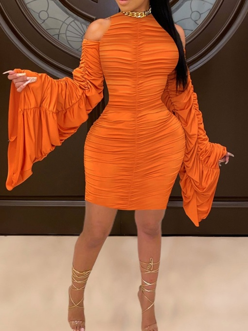 Plus Size Pleated Round Neck Long Sleeve Above Knee Sexy Women's Dress