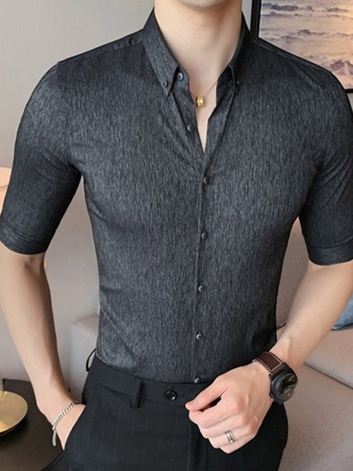 Plain Lapel Button Slim Summer Men's Shirt